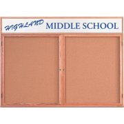 Enclosed Illumin Cork Board w/Header (2 Door 4'x3')