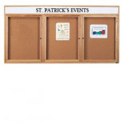 Enclosed Cork Board with Header (3 Door 6'x4')