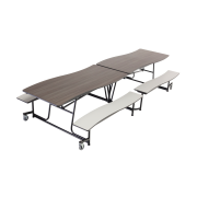Wave Mobile Cafeteria Table - Chrome Frame (10')