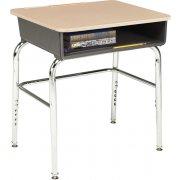 Adj. Height Open Front School Desk - Hard Plastic, U Brace