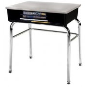 Open Front School Desk - Hard Plastic Top, U Brace