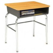 Open Front School Desk - WoodStone Top, U Brace