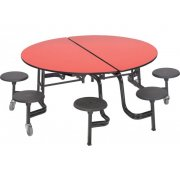 Mobile Round Cafeteria Table - 8 Stools