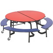 Round Mobile Bench Cafeteria Table (60