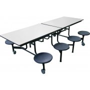 Mobile Cafeteria Table - Plywood Core, Chrome, 8 Stools (8')
