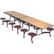 Mobile Cafeteria Table - Chrome, Plywood Core, 12 Stools (10')