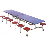 Mobile Cafeteria Table - Plywood Core, Chrome, 12 Stools (12')