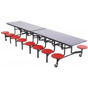 Mobile Cafeteria Table - Plywood Core, Chrome, 16 Stools (12')