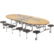 Amtab Mobile Oval Cafeteria Table-DynaEdge, Chrome, 12 Stool