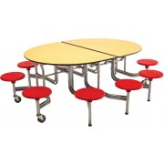 Mobile Oval Cafeteria Table - Plywood Core, 10 Stools