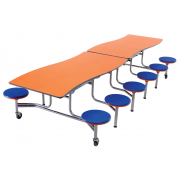 Wave Mobile Cafeteria Stool Table - 12 Stools (12')