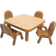 Square Baseline® Preschool Table with 4 Chairs - Natural (30