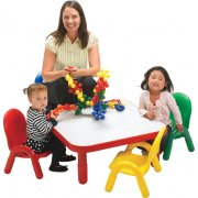 Square Baseline® Preschool Table with 4 Chairs - Colors (30
