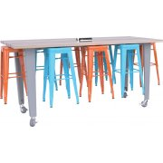 "IDEA Island Makerspace Table with 8 Stools by CEF (34""H)"