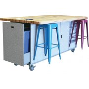 Ed Makerspace Table with 6 Metal Stools (42