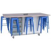 Ed Makerspace Table with 8 Metal Stools (36