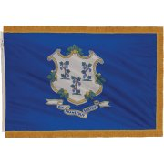 Indoor Connecticut State Flag with Pole Hem and Fringe (3x5')