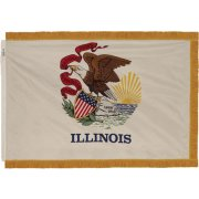 Indoor Illinois State Flag with Pole Hem and Fringe (3x5')