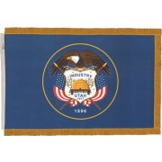 Indoor Utah State Flag with Pole Hem and Fringe (3x5')