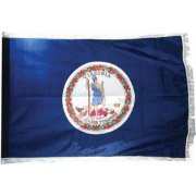 Indoor Virginia State Flag with Pole Hem and Fringe (3x5')