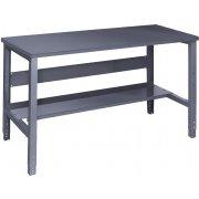Adj. Height Steel Workbench with Shelf - Steel Top (30