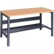 Adj. Height Steel Workbench with Shelf - Maple Top (30