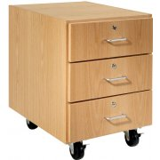Wooden Mobile Pedestal with 3 Drawers (30