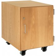 Wooden Mobile Pedestal with Right-Hinged Cabinet (30