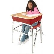 EE2 Adj. Height Open Front School Desk - WoodStone, U Brace