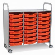 Callero Triple Cart with 24 Shallow Trays