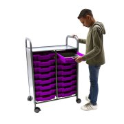 Callero Double Cart with 16 Shallow Trays