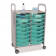 Callero Double Cart with 16 Shallow Antimicrobial Trays