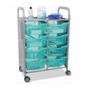 Callero Double Cart with 8 Deep Antimicrobial Trays