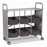 Callero Library Cart with 6 Deep Antimicrobial Trays