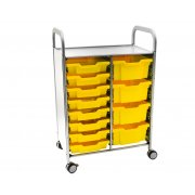 Callero Double Cart with 8 Shallow & 4 Deep Trays