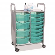 Callero Double Cart - 8 Shallow & 4 Deep Antimicrobial Trays