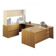 U-Shaped Office Desk with Left Lateral Credenza