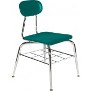 Deluxe Hard Plastic Stackable School Chair with Bookrack (13.75