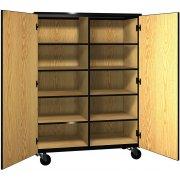 Mobile Cubby Storage - 8 Adj Shelves, Locking Doors, 66