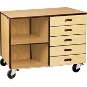 Mobile Office Storage Unit - 5 Drawers, 1 Adj Shelf, 36
