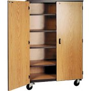 Mobile Storage Cabinet - 4 Adj Shelves, Locking Doors, 66