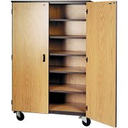 Mobile Storage Cabinet - 5 Shelves, Locking Doors, 72