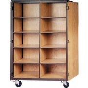 Cubby Storage Cabinet- 10 Adj Shelves, Locking Doors, 72