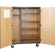 Locking Mobile Wardrobe Storage Closet- 4 Adj Shelves, 66