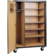 Locking Mobile Wardrobe Storage Closet- 5 Adj Shelves, 72