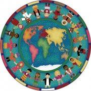 Hands Around the World Round Carpet (7'7