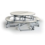 Uniframe Mobile Round Cafeteria Table - Chrome, 60