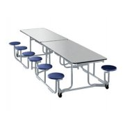 Uniframe Mobile Cafeteria Table - 12 Stools, Chrome, 140