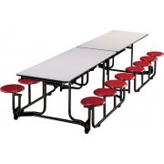 Uniframe Mobile Cafeteria Table - 16 Stools, Painted Frame