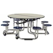 Uniframe Mobile Cafeteria Table - 8 Stools, Chrome Frame